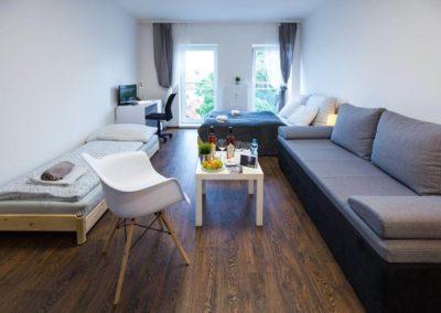 Obývací místnost v apartmánu Bratislavská