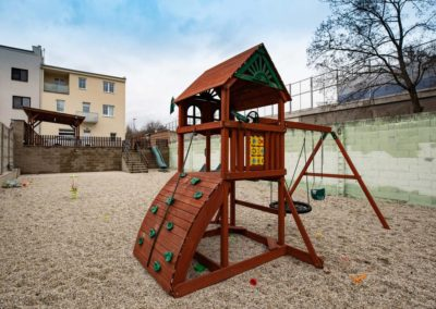 Children's climbing frames in the courtyard of the Horova apartment