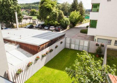 Výhled z balkónu apartmánu Haasova 2NP